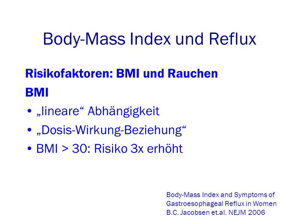 """Body-Mass Index und Reflux Risikofaktoren: BMI und Rauchen BMI """"lineare Abhängigkeit """"Dosis-Wirkung-Beziehung BMI > 30: Risiko 3x erhöht Body-Mass Index and Symptoms of Gastroesophageal Reflux in Women B.C."""