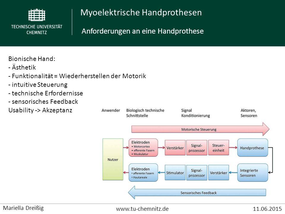 Myoelektrische Handprothesen www.tu-chemnitz.de11.06.2015 Mariella Dreißig Bionische Hand: - Ästhetik - Funktionalität = Wiederherstellen der Motorik