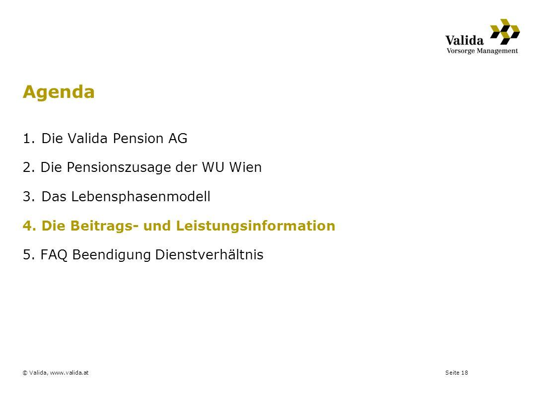 Seite 18© Valida, www.valida.at 1.Die Valida Pension AG 2. Die Pensionszusage der WU Wien 3.Das Lebensphasenmodell 4.Die Beitrags- und Leistungsinform