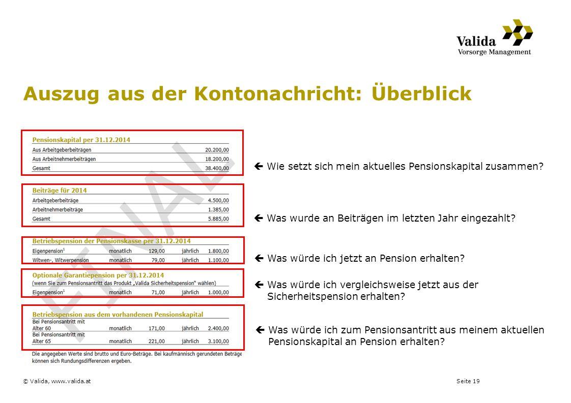 Seite 19© Valida, www.valida.at Auszug aus der Kontonachricht: Überblick  Wie setzt sich mein aktuelles Pensionskapital zusammen?  Was wurde an Beit