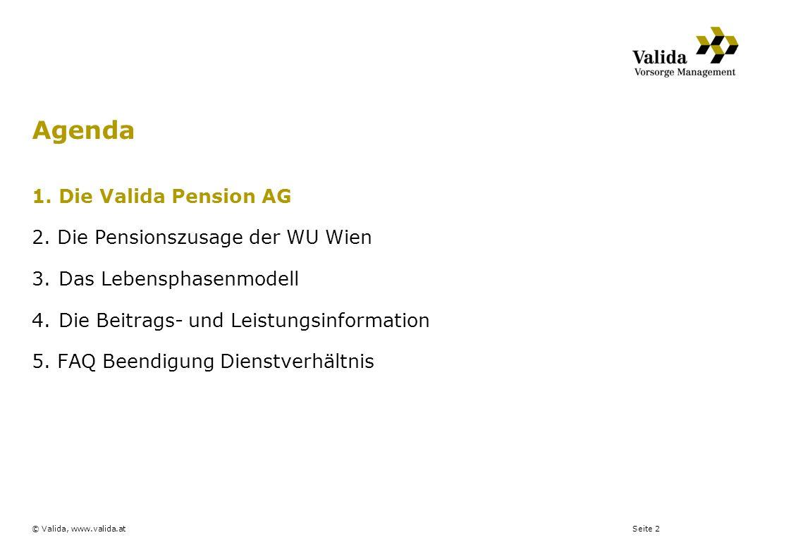 Seite 2© Valida, www.valida.at 1.Die Valida Pension AG 2. Die Pensionszusage der WU Wien 3.Das Lebensphasenmodell 4.Die Beitrags- und Leistungsinforma