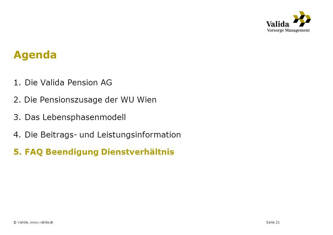 Seite 21© Valida, www.valida.at 1.Die Valida Pension AG 2. Die Pensionszusage der WU Wien 3.Das Lebensphasenmodell 4.Die Beitrags- und Leistungsinform