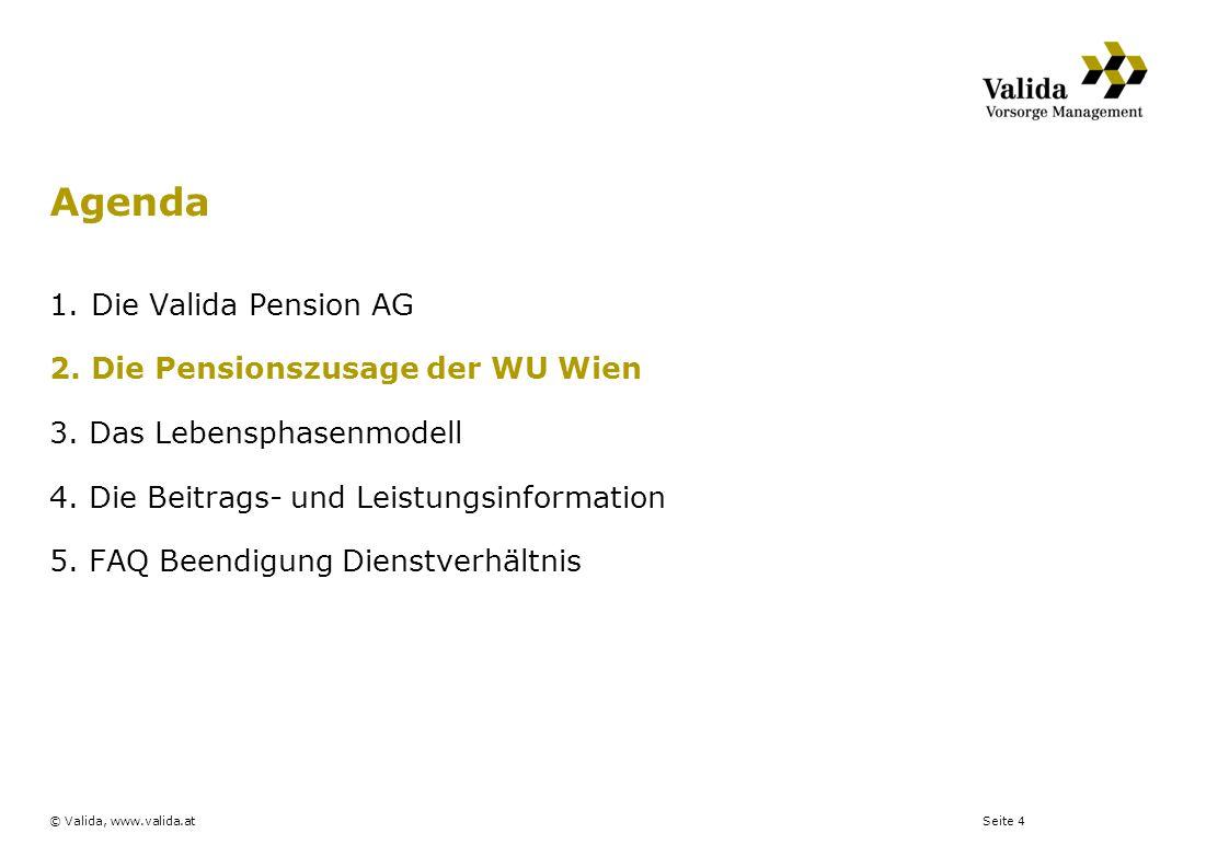 Seite 4© Valida, www.valida.at 1.Die Valida Pension AG 2.Die Pensionszusage der WU Wien 3. Das Lebensphasenmodell 4. Die Beitrags- und Leistungsinform