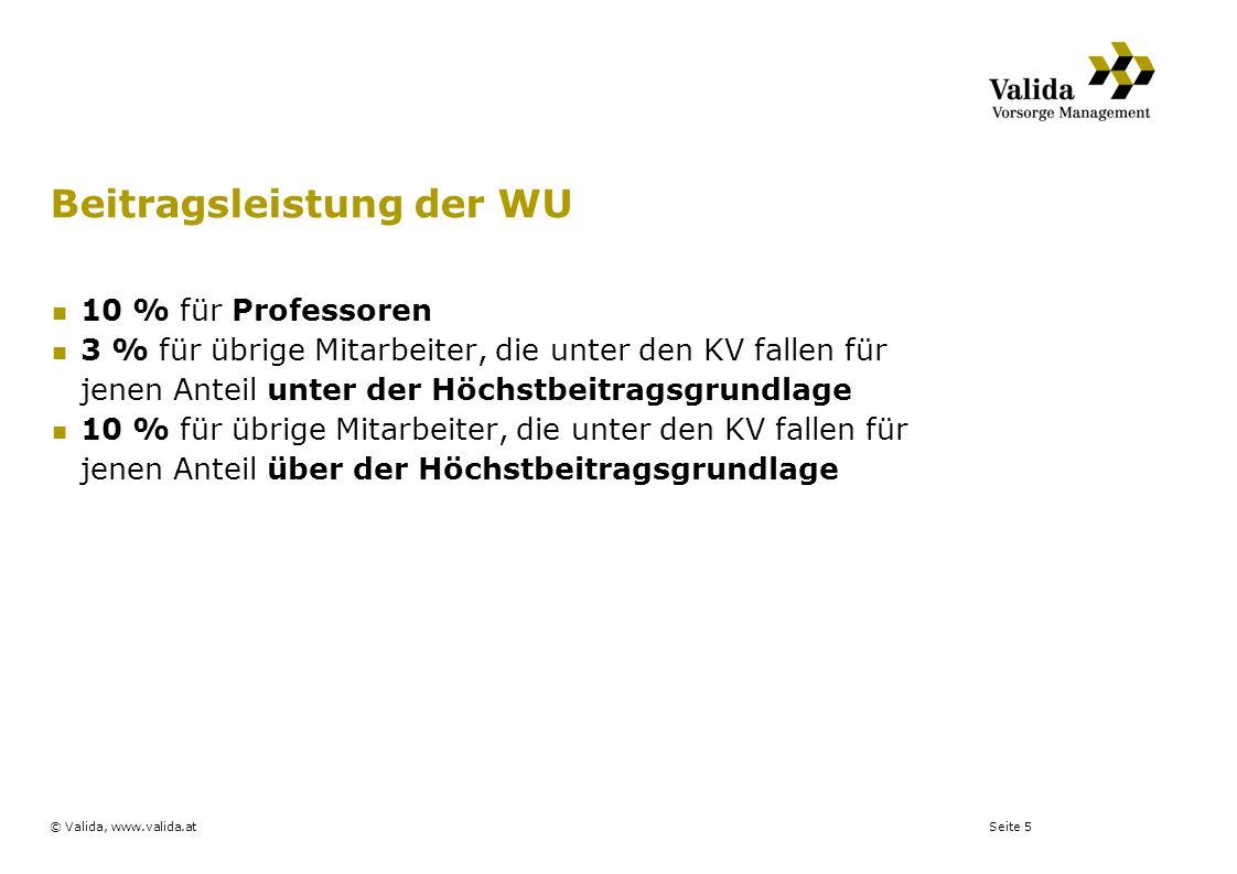 Seite 5© Valida, www.valida.at Beitragsleistung der WU 10 % für Professoren 3 % für übrige Mitarbeiter, die unter den KV fallen für jenen Anteil unter