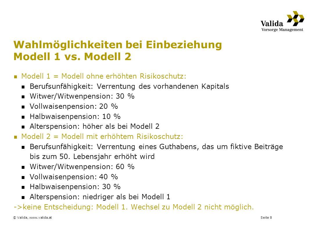 Seite 8© Valida, www.valida.at Wahlmöglichkeiten bei Einbeziehung Modell 1 vs. Modell 2 Modell 1 = Modell ohne erhöhten Risikoschutz: Berufsunfähigkei