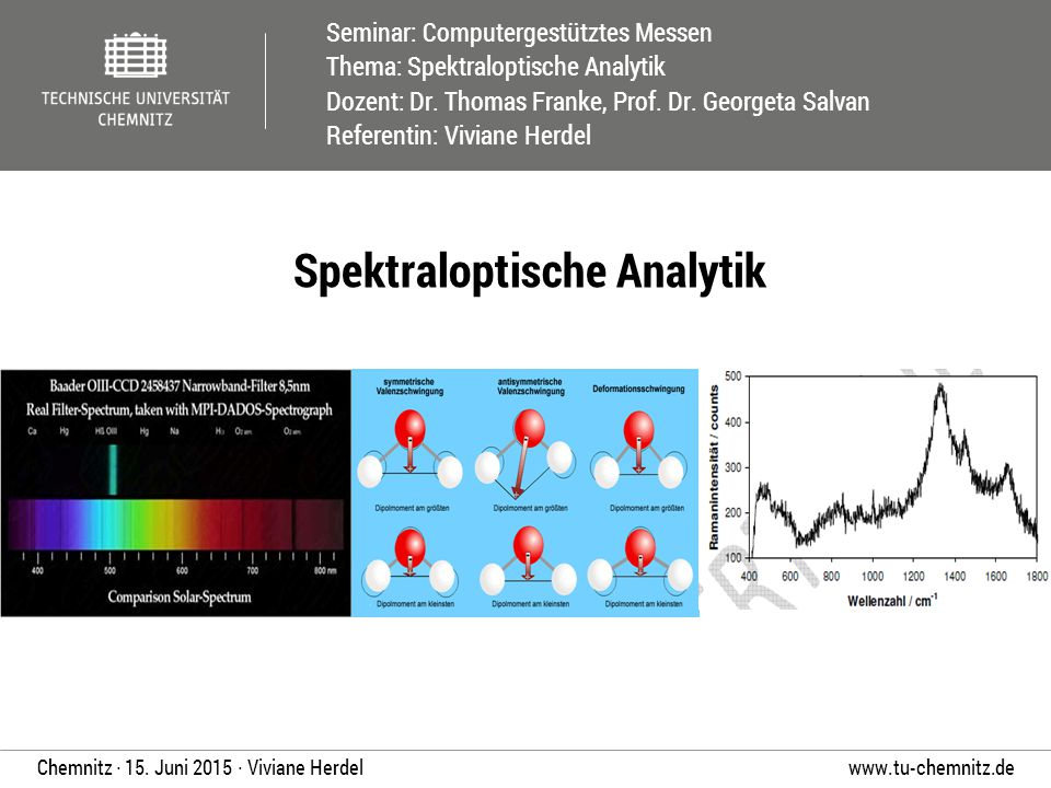Seminar: Computergestütztes Messen Thema: Spektraloptische Analytik Dozent: Dr. Thomas Franke, Prof. Dr. Georgeta Salvan Referentin: Viviane Herdel ww