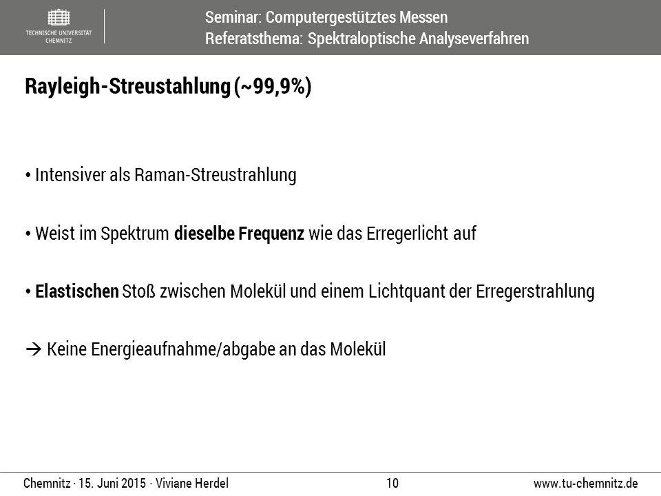 Seminar: Computergestütztes Messen Referatsthema: Spektraloptische Analyseverfahren www.tu-chemnitz.de 10 Chemnitz ∙ 15. Juni 2015 ∙ Viviane Herdel In