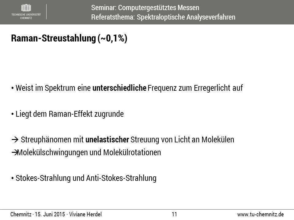 Seminar: Computergestütztes Messen Referatsthema: Spektraloptische Analyseverfahren www.tu-chemnitz.de 11 Chemnitz ∙ 15. Juni 2015 ∙ Viviane Herdel We