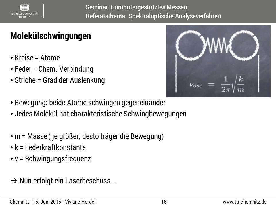 Seminar: Computergestütztes Messen Referatsthema: Spektraloptische Analyseverfahren www.tu-chemnitz.de 16 Chemnitz ∙ 15. Juni 2015 ∙ Viviane Herdel Kr