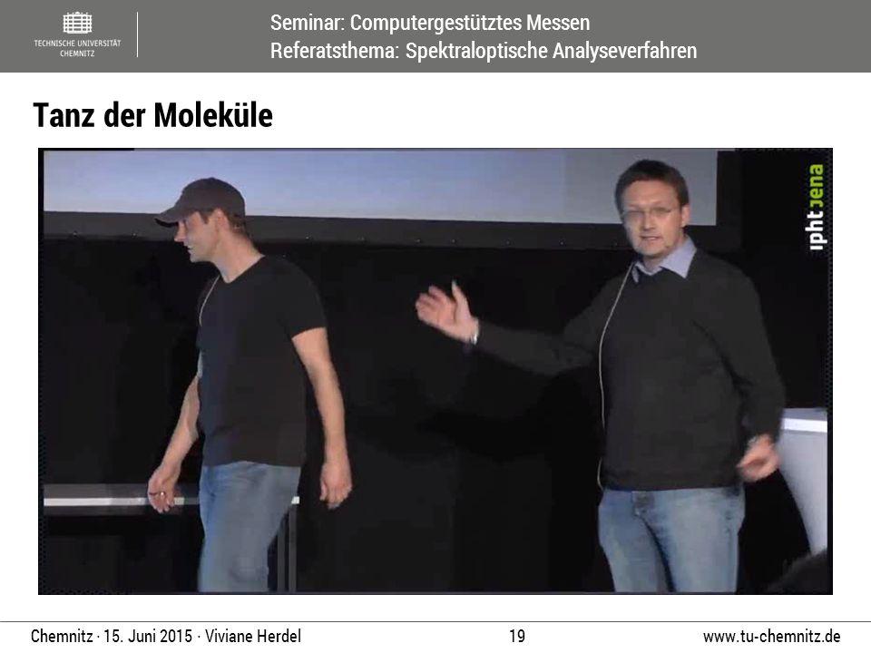 Seminar: Computergestütztes Messen Referatsthema: Spektraloptische Analyseverfahren www.tu-chemnitz.de 19 Chemnitz ∙ 15. Juni 2015 ∙ Viviane Herdel Ta