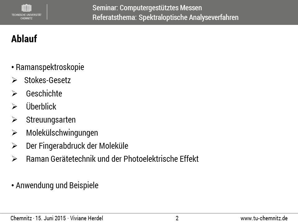 Seminar: Computergestütztes Messen Referatsthema: Spektraloptische Analyseverfahren www.tu-chemnitz.de 2 Chemnitz ∙ 15. Juni 2015 ∙ Viviane Herdel Ram
