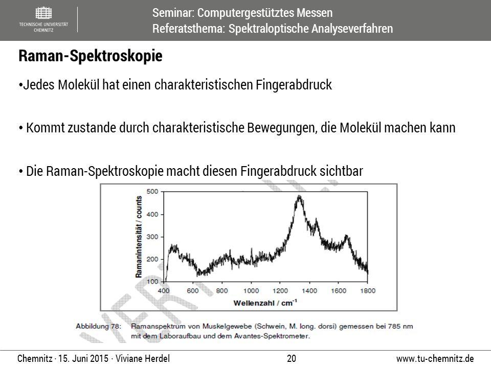 Seminar: Computergestütztes Messen Referatsthema: Spektraloptische Analyseverfahren www.tu-chemnitz.de 20 Chemnitz ∙ 15. Juni 2015 ∙ Viviane Herdel Je