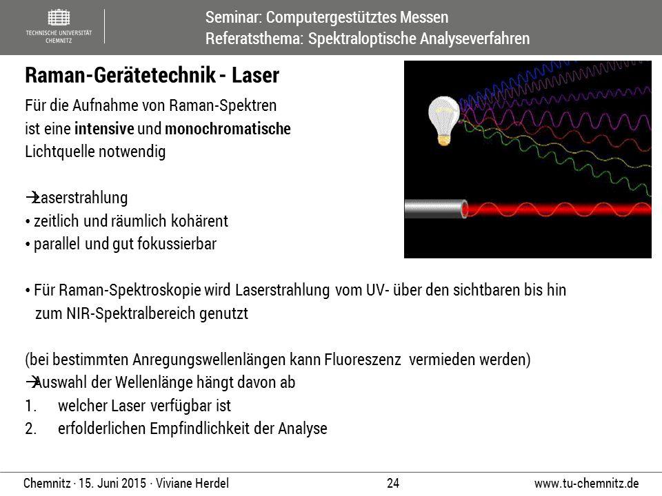 Seminar: Computergestütztes Messen Referatsthema: Spektraloptische Analyseverfahren www.tu-chemnitz.de 24 Chemnitz ∙ 15. Juni 2015 ∙ Viviane Herdel Fü