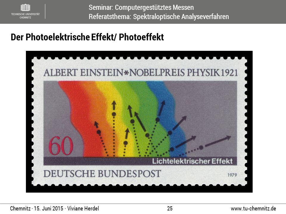 Seminar: Computergestütztes Messen Referatsthema: Spektraloptische Analyseverfahren www.tu-chemnitz.de 25 Chemnitz ∙ 15. Juni 2015 ∙ Viviane Herdel De