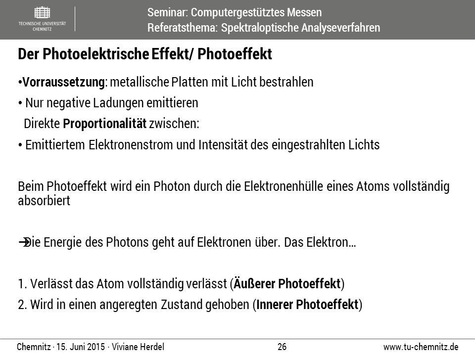 Seminar: Computergestütztes Messen Referatsthema: Spektraloptische Analyseverfahren www.tu-chemnitz.de 26 Chemnitz ∙ 15. Juni 2015 ∙ Viviane Herdel Vo