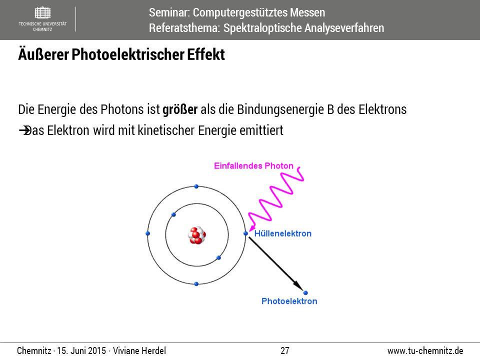 Seminar: Computergestütztes Messen Referatsthema: Spektraloptische Analyseverfahren www.tu-chemnitz.de 27 Chemnitz ∙ 15. Juni 2015 ∙ Viviane Herdel Di