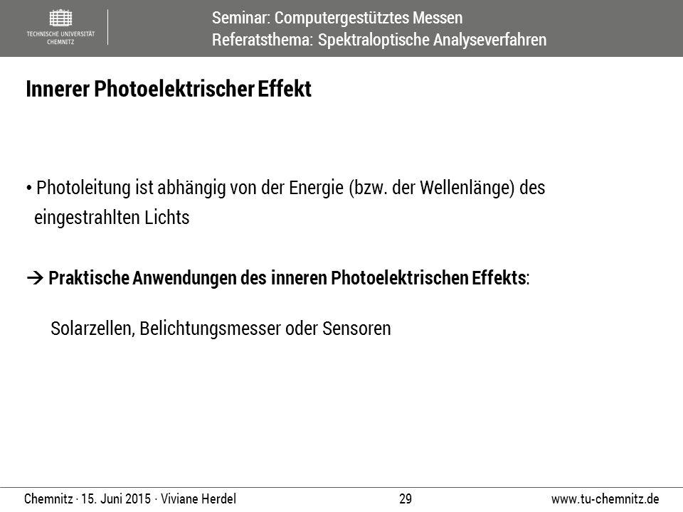 Seminar: Computergestütztes Messen Referatsthema: Spektraloptische Analyseverfahren www.tu-chemnitz.de 29 Chemnitz ∙ 15. Juni 2015 ∙ Viviane Herdel Ph