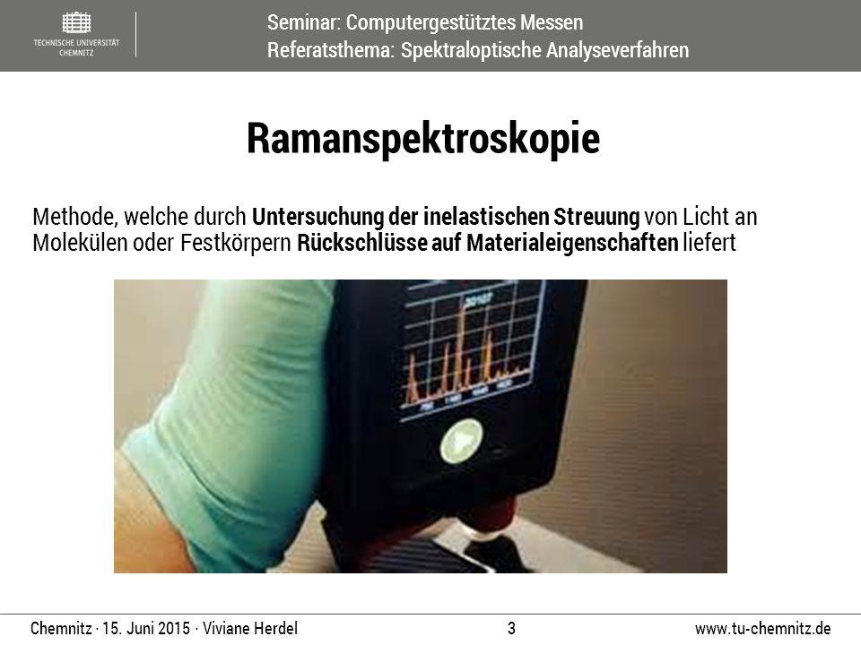 Seminar: Computergestütztes Messen Referatsthema: Spektraloptische Analyseverfahren www.tu-chemnitz.de 3 Chemnitz ∙ 15. Juni 2015 ∙ Viviane Herdel Met