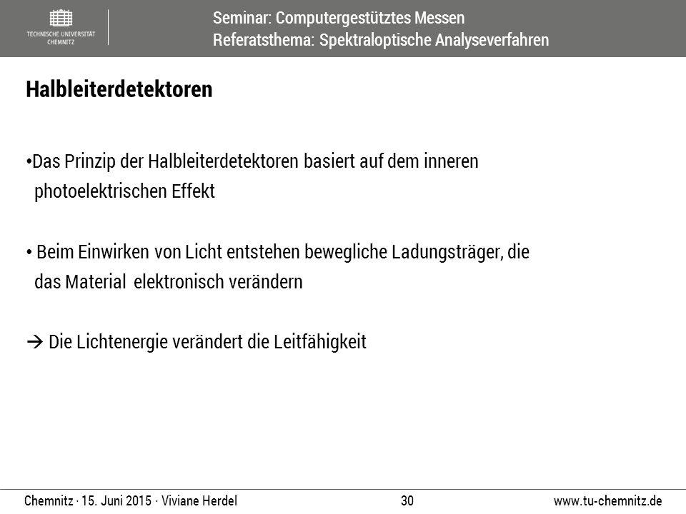 Seminar: Computergestütztes Messen Referatsthema: Spektraloptische Analyseverfahren www.tu-chemnitz.de 30 Chemnitz ∙ 15. Juni 2015 ∙ Viviane Herdel Da