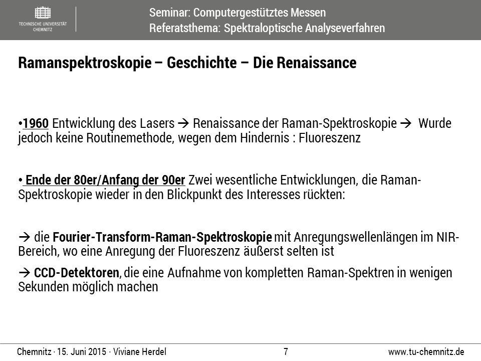 Seminar: Computergestütztes Messen Referatsthema: Spektraloptische Analyseverfahren www.tu-chemnitz.de 7 Chemnitz ∙ 15. Juni 2015 ∙ Viviane Herdel 196