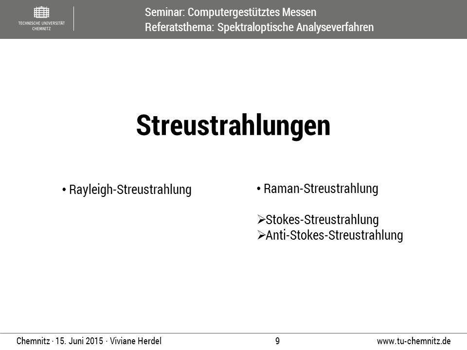 Seminar: Computergestütztes Messen Referatsthema: Spektraloptische Analyseverfahren www.tu-chemnitz.de 9 Chemnitz ∙ 15. Juni 2015 ∙ Viviane Herdel Ray