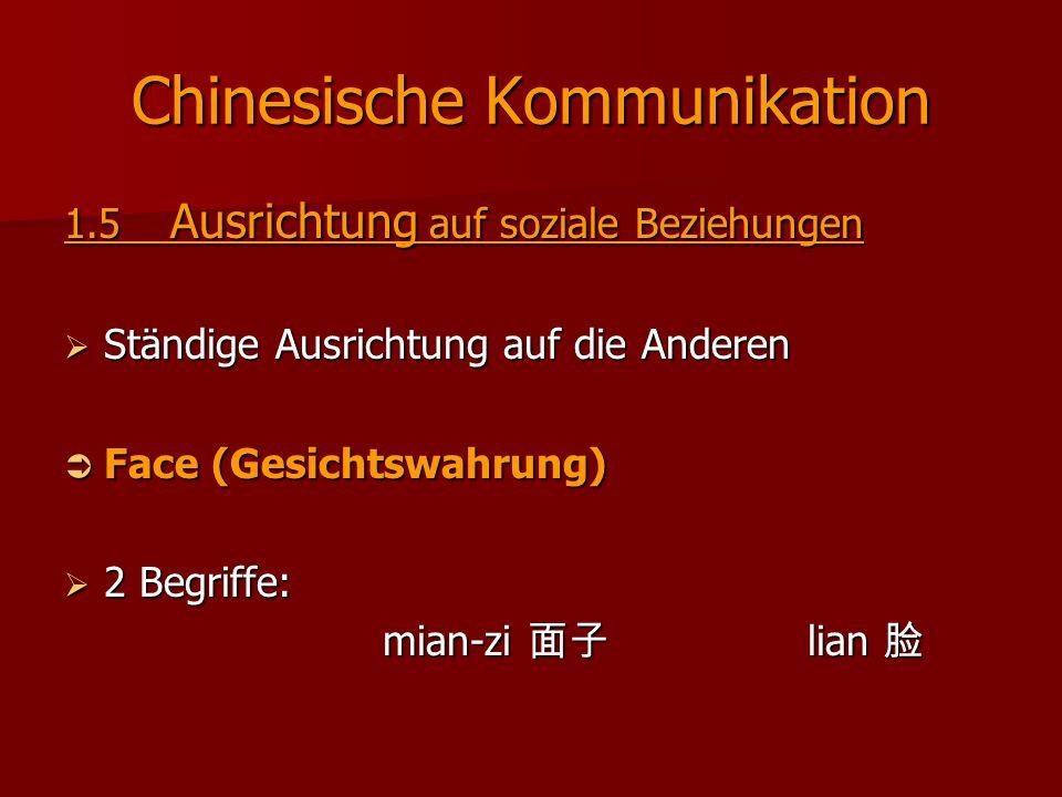 Chinesische Kommunikation 1.5 Ausrichtung auf soziale Beziehungen  Ständige Ausrichtung auf die Anderen  Face (Gesichtswahrung)  2 Begriffe: mian-z