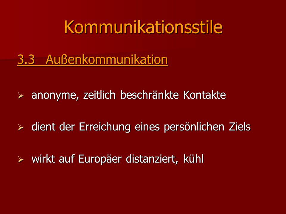 Kommunikationsstile 3.3Außenkommunikation  anonyme, zeitlich beschränkte Kontakte  dient der Erreichung eines persönlichen Ziels  wirkt auf Europäe