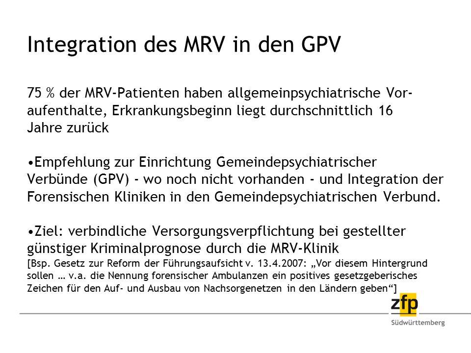 Integration des MRV in den GPV 75 % der MRV-Patienten haben allgemeinpsychiatrische Vor- aufenthalte, Erkrankungsbeginn liegt durchschnittlich 16 Jahr