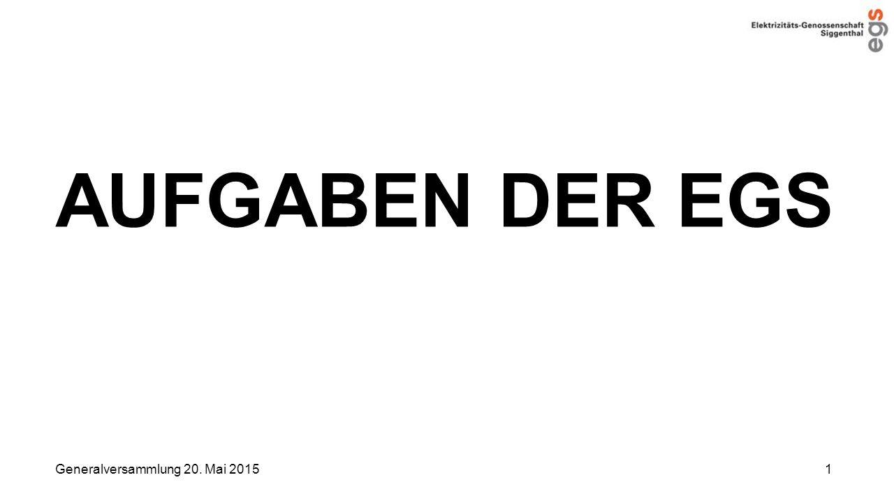 AUFGABEN DER EGS Generalversammlung 20. Mai 2015 1
