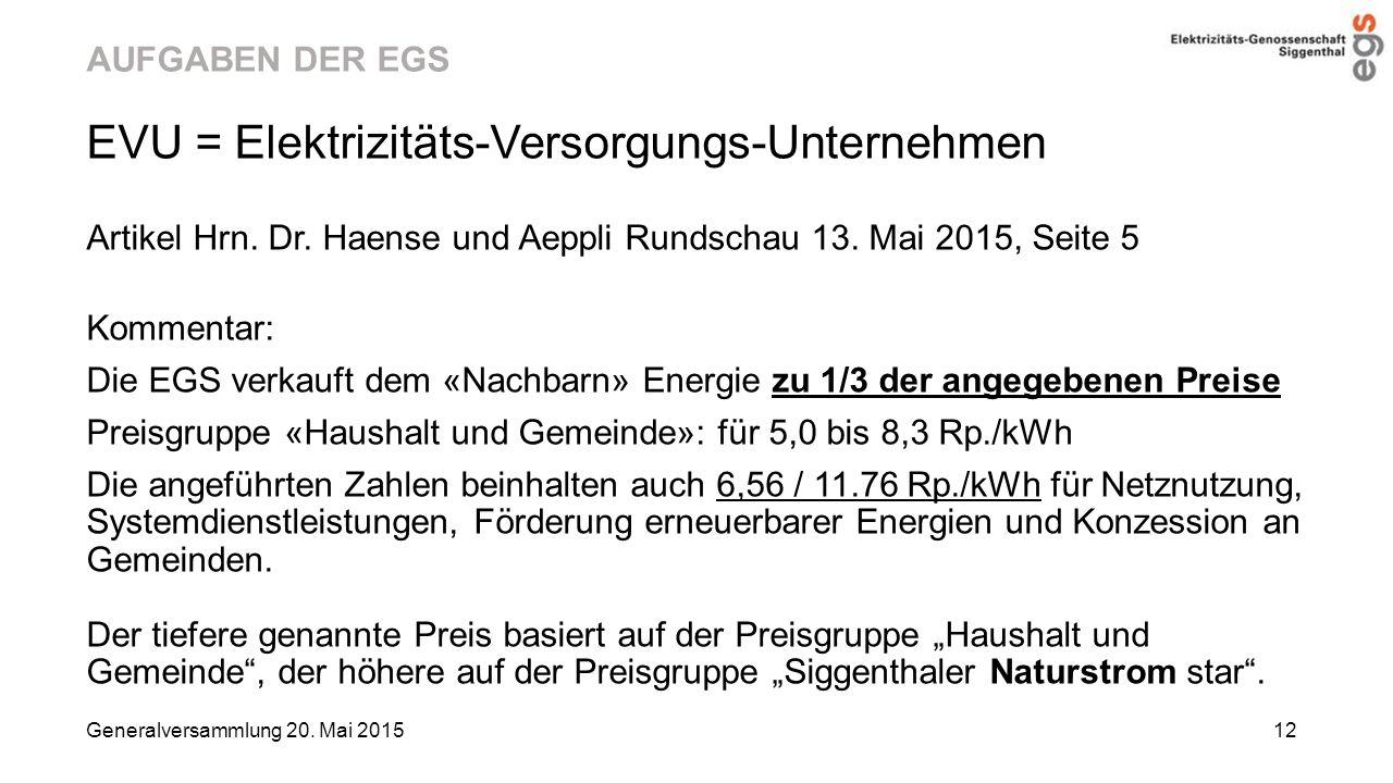 AUFGABEN DER EGS EVU = Elektrizitäts-Versorgungs-Unternehmen Artikel Hrn. Dr. Haense und Aeppli Rundschau 13. Mai 2015, Seite 5 Kommentar: Die EGS ver