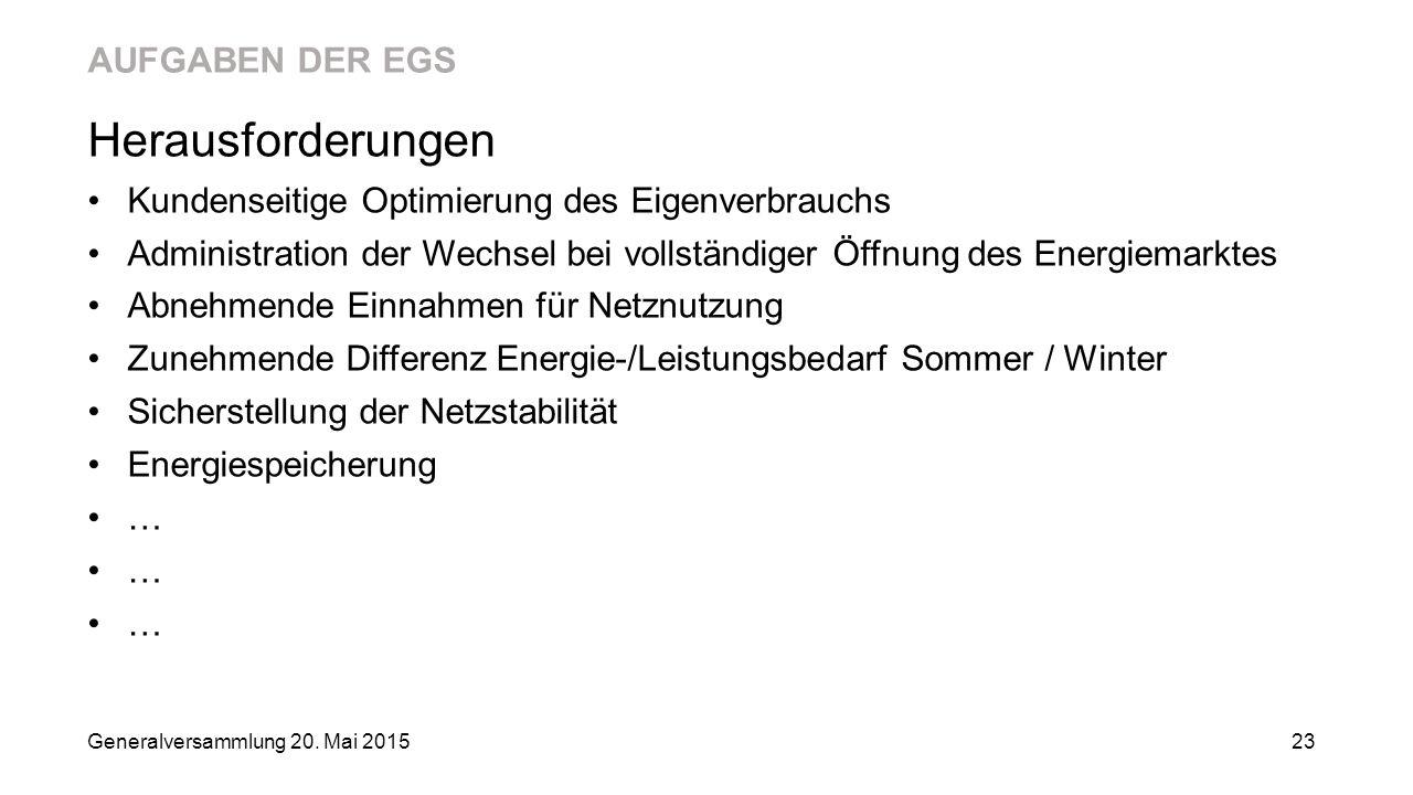 AUFGABEN DER EGS Herausforderungen Kundenseitige Optimierung des Eigenverbrauchs Administration der Wechsel bei vollständiger Öffnung des Energiemarkt