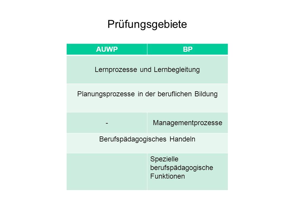Prüfungsgebiete AUWPBP Lernprozesse und Lernbegleitung Planungsprozesse in der beruflichen Bildung -Managementprozesse Berufspädagogisches Handeln Spe