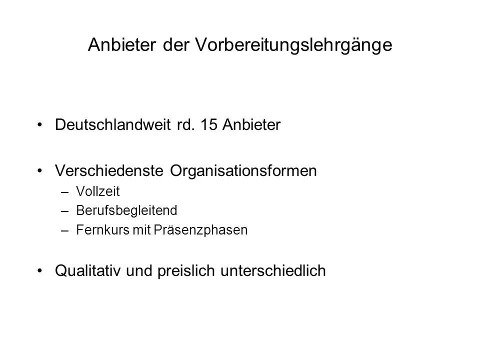 Anbieter der Vorbereitungslehrgänge Deutschlandweit rd. 15 Anbieter Verschiedenste Organisationsformen –Vollzeit –Berufsbegleitend –Fernkurs mit Präse