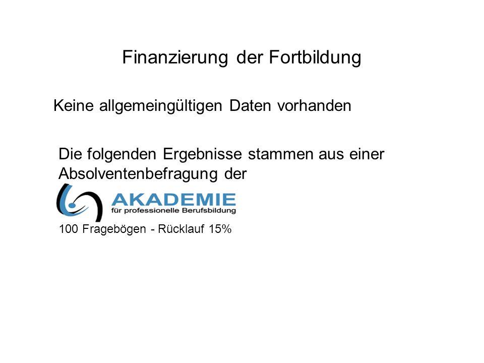 Finanzierung der Fortbildung Keine allgemeingültigen Daten vorhanden Die folgenden Ergebnisse stammen aus einer Absolventenbefragung der 100 Frageböge