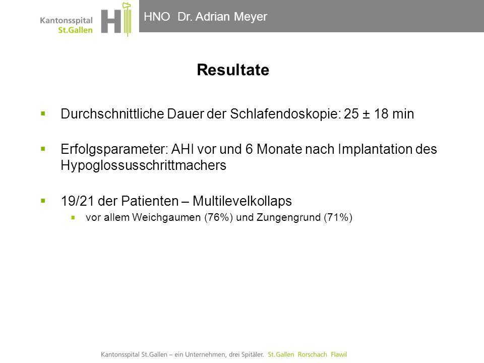 HNO-Klinik, Hals- und GesichtschirurgieHNO Dr. Adrian Meyer  Durchschnittliche Dauer der Schlafendoskopie: 25 ± 18 min  Erfolgsparameter: AHI vor un