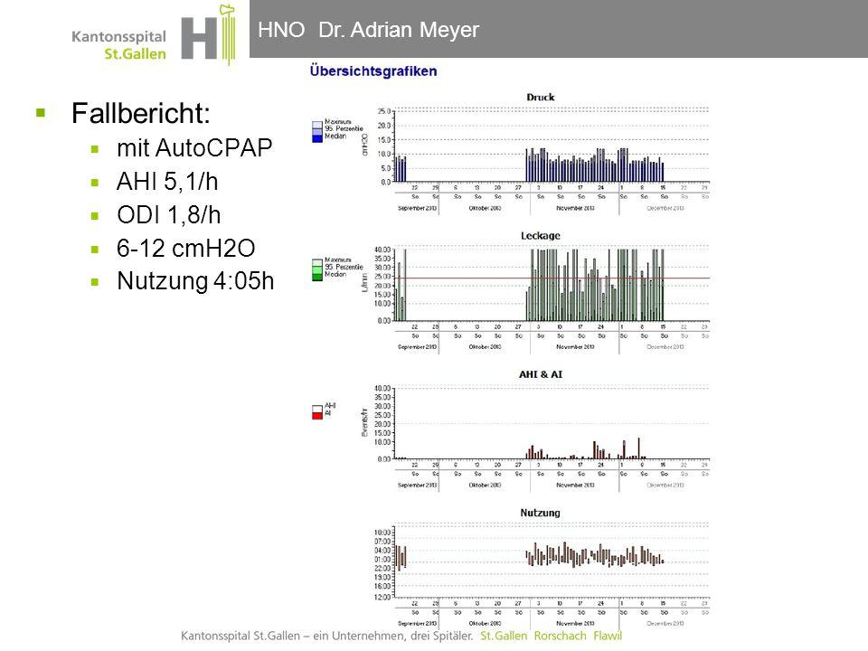HNO-Klinik, Hals- und GesichtschirurgieHNO Dr. Adrian Meyer  Fallbericht:  mit AutoCPAP  AHI 5,1/h  ODI 1,8/h  6-12 cmH2O  Nutzung 4:05h