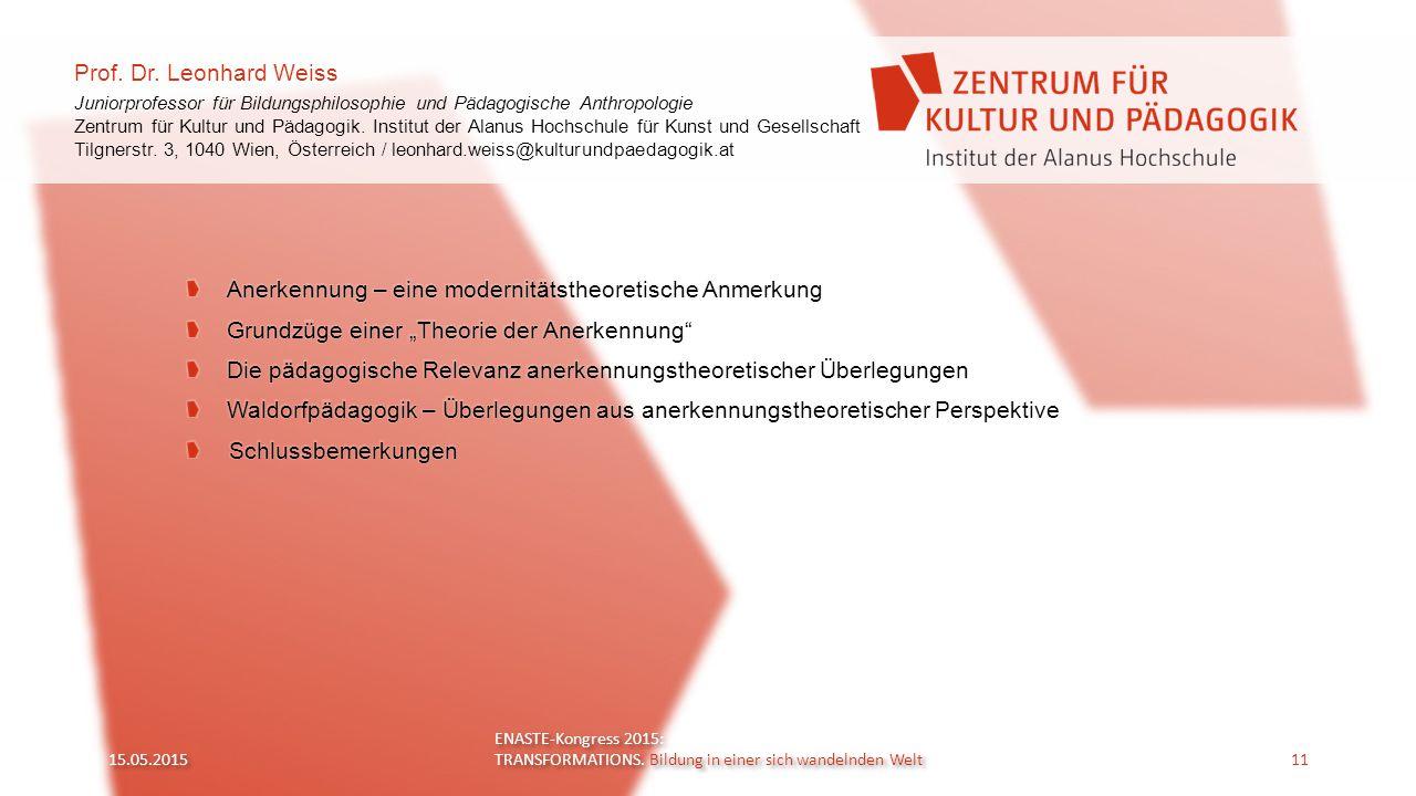 Prof. Dr. Leonhard Weiss Juniorprofessor für Bildungsphilosophie und Pädagogische Anthropologie Zentrum für Kultur und Pädagogik. Institut der Alanus