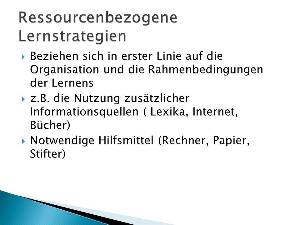  Beziehen sich in erster Linie auf die Organisation und die Rahmenbedingungen der Lernens  z.B. die Nutzung zusätzlicher Informationsquellen ( Lexik