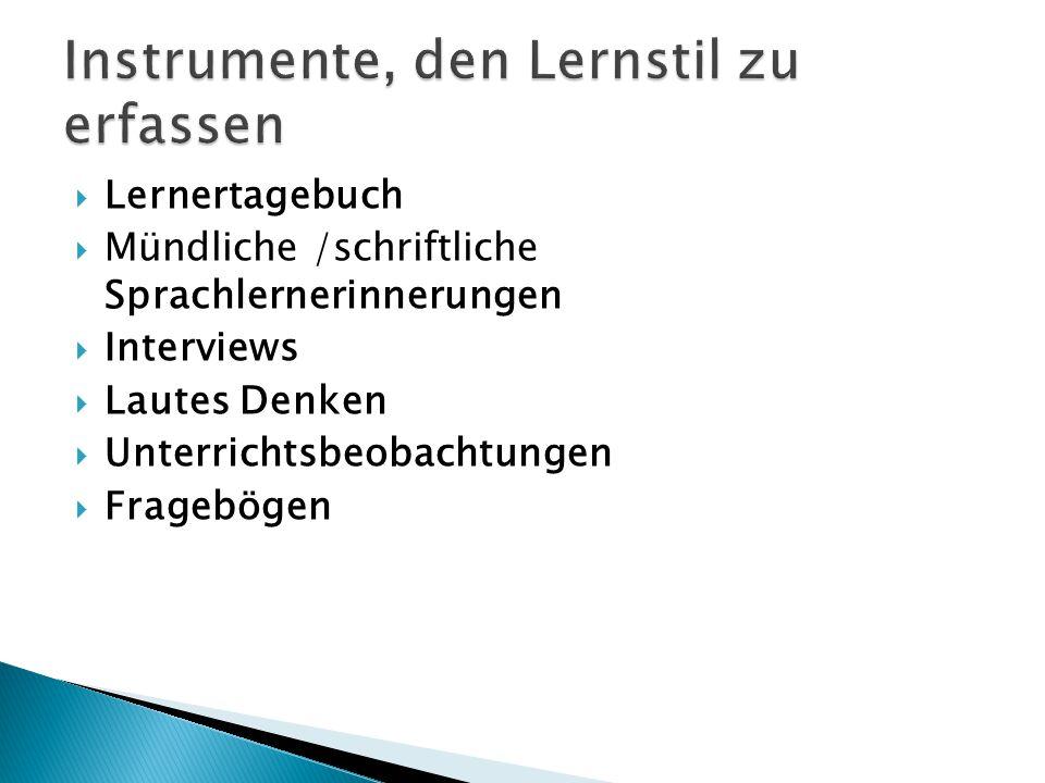 Lernertagebuch  Mündliche /schriftliche Sprachlernerinnerungen  Interviews  Lautes Denken  Unterrichtsbeobachtungen  Fragebögen
