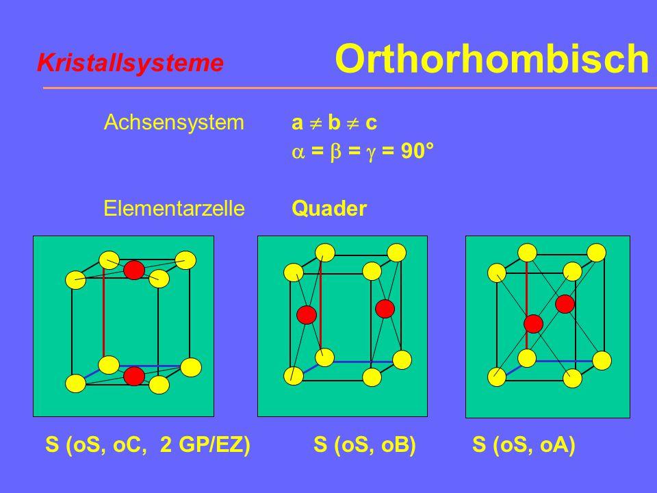 Orthorhombisch Achsensystem Elementarzelle a  b  c  =  =  = 90° Quader P (oP)F (oF, 4 GP/EZ) Kristallsysteme