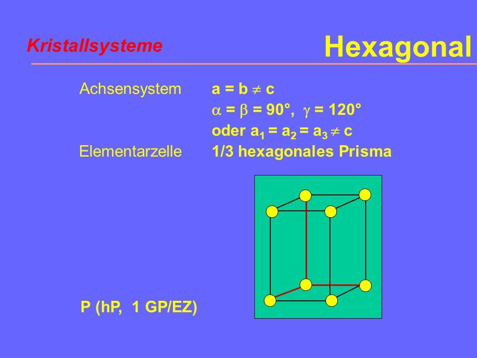 Orthorhombisch Achsensystem Elementarzelle a  b  c  =  =  = 90° Quader S (oS, oB)S (oS, oC, 2 GP/EZ)S (oS, oA) Kristallsysteme