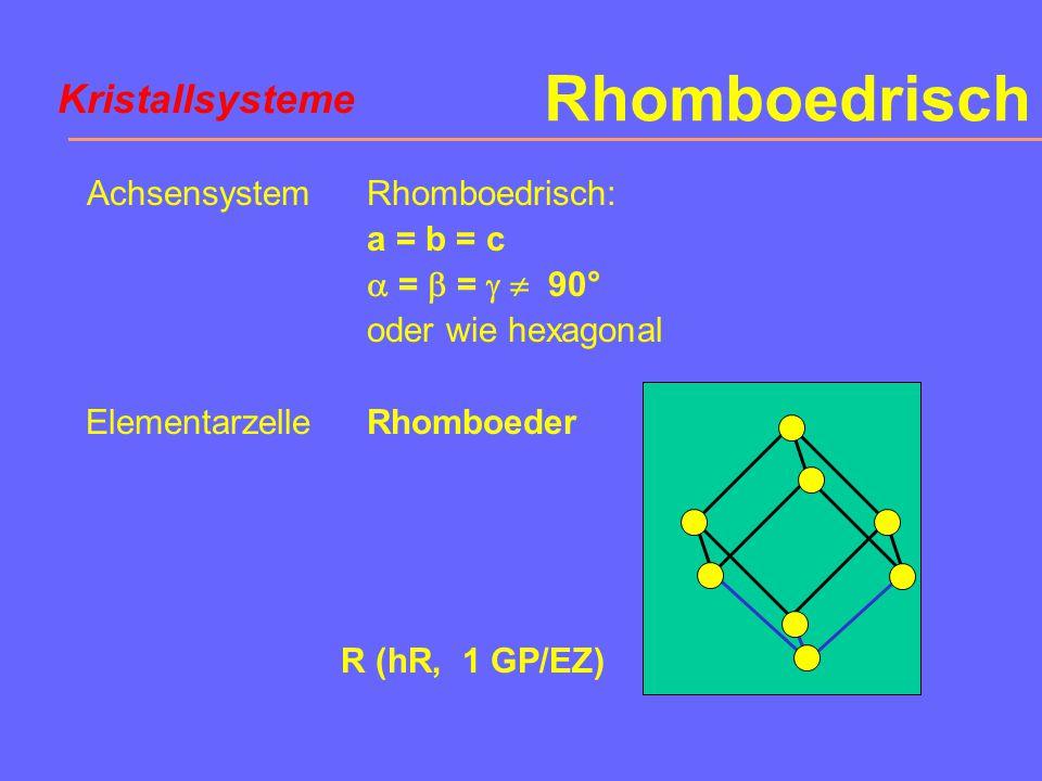 Hexagonal Achsensystem Elementarzelle a = b  c  =  = 90°,  = 120° oder a 1 = a 2 = a 3  c 1/3 hexagonales Prisma P (hP, 1 GP/EZ) Kristallsysteme