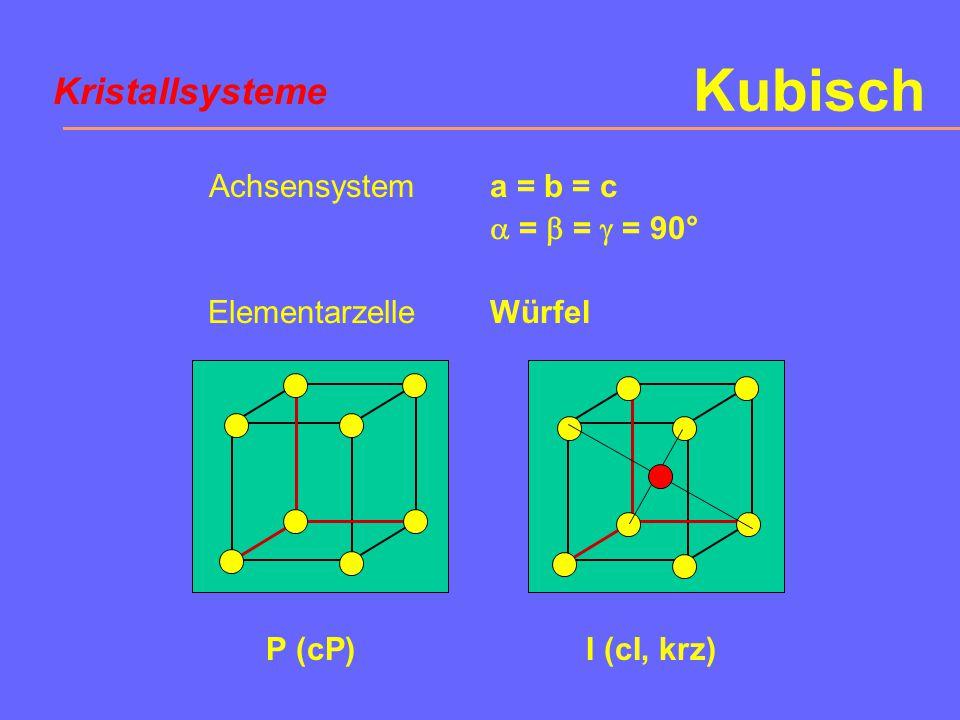 Achsensystem Elementarzelle a = b = c  =  =  = 90° Würfel Kubisch P (cP) I (cI, krz) Kristallsysteme