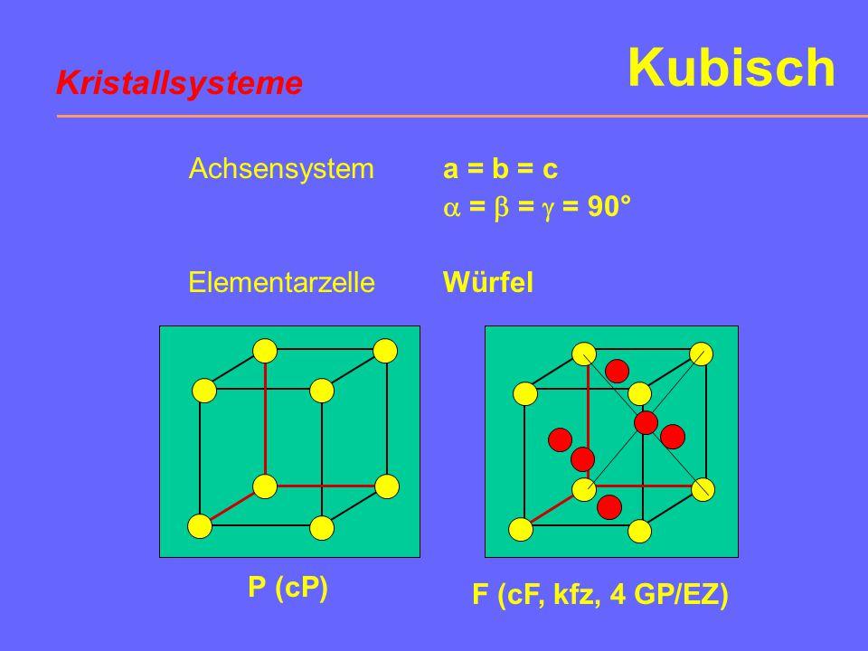 Kubisch P (cP) F (cF, kfz, 4 GP/EZ) Achsensystem Elementarzelle a = b = c  =  =  = 90° Würfel Kristallsysteme