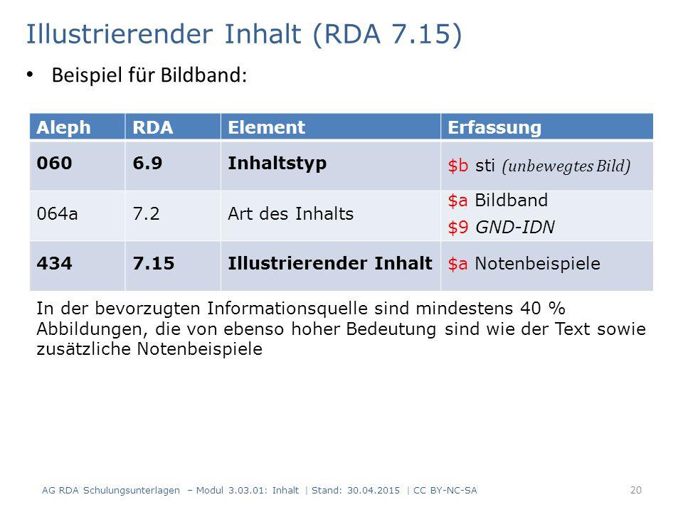 Illustrierender Inhalt (RDA 7.15) AG RDA Schulungsunterlagen – Modul 3.03.01: Inhalt | Stand: 30.04.2015 | CC BY-NC-SA 20 AlephRDAElementErfassung 060