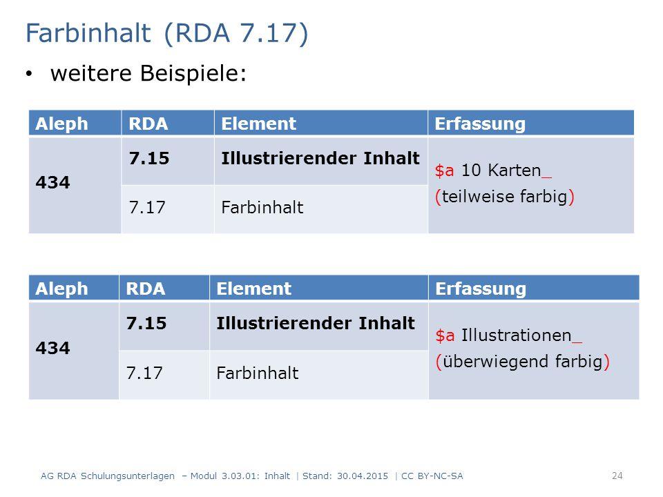 Farbinhalt (RDA 7.17) AG RDA Schulungsunterlagen – Modul 3.03.01: Inhalt | Stand: 30.04.2015 | CC BY-NC-SA 24 AlephRDAElementErfassung 434 7.15Illustrierender Inhalt $a 10 Karten_ (teilweise farbig) 7.17Farbinhalt AlephRDAElementErfassung 434 7.15Illustrierender Inhalt $a Illustrationen_ (überwiegend farbig) 7.17Farbinhalt weitere Beispiele: