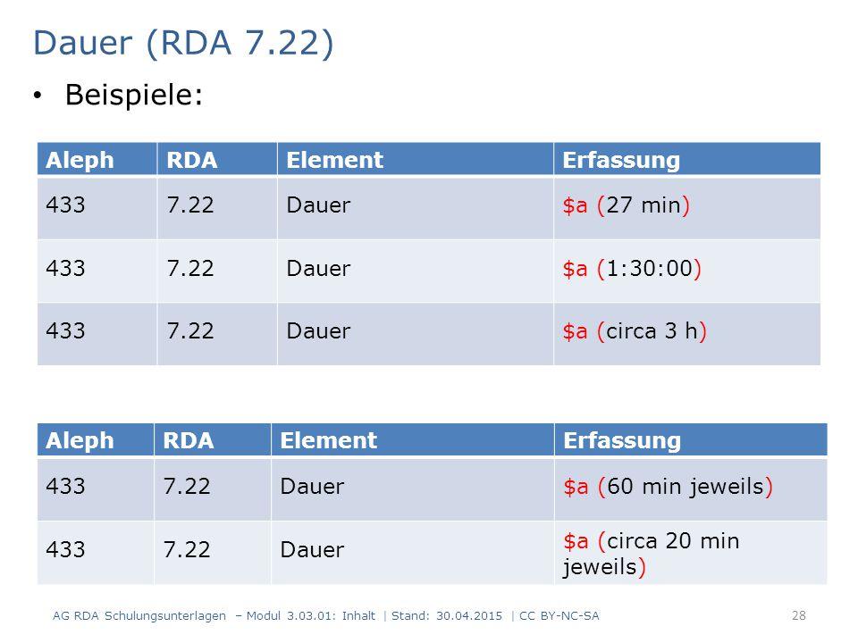 Dauer (RDA 7.22) AG RDA Schulungsunterlagen – Modul 3.03.01: Inhalt | Stand: 30.04.2015 | CC BY-NC-SA 28 AlephRDAElementErfassung 4337.22Dauer$a (27 m
