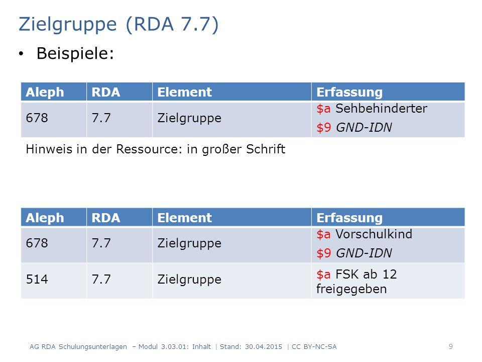 Zielgruppe (RDA 7.7) AG RDA Schulungsunterlagen – Modul 3.03.01: Inhalt | Stand: 30.04.2015 | CC BY-NC-SA 9 AlephRDAElementErfassung 6787.7Zielgruppe
