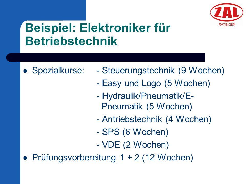 Beispiel: Elektroniker für Betriebstechnik Spezialkurse: - Steuerungstechnik (9 Wochen) - Easy und Logo (5 Wochen) - Hydraulik/Pneumatik/E- Pneumatik