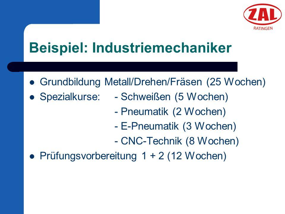 Beispiel: Industriemechaniker Grundbildung Metall/Drehen/Fräsen (25 Wochen) Spezialkurse:- Schweißen (5 Wochen) - Pneumatik (2 Wochen) - E-Pneumatik (